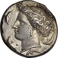 SICILY. Syracuse. Dionysios I, 406-367 B.C. Decadrachm. (43.25 gms), ca. 400-390 B.C.