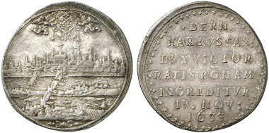 Regensburg. Reichsthaler, 1633. On the Swedish-Protestant troops capturing the city of Regensburg. Auction sale Künker 238 (2013), 4581.