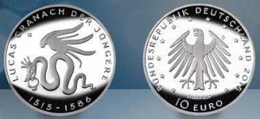 Deutschland / 2015 / 10 Euro / Silber .625 / 16 g / Spiegelglanz / Gestaltung: Erich Ott.