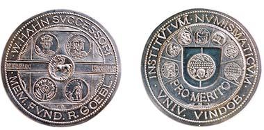 Die Wolfgang Hahn-Medaille für besondere Verdienste um das Institut für Numismatik und Geldgeschichte. Foto: Agnieszka Brytan, Institut für KIassische Archäologie der Universität Wien.