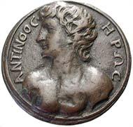 Abb. 1: Gegossene Renaissance Medaille mit der Büste des Antinoos.