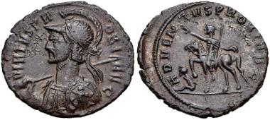 Lot 574: Probus. AD 276-282. Antoninianus. Cyzicus mint. 2nd emission, AD 276-277. RIC V 904; Pink VI/1, p. 31. Good VF, glossy brown surfaces. Very interesting shield design. Estimate: $200.