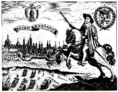 Gustavus II Adolphus at the city walls of Augsburg, 1632. Source: Wikicommons.