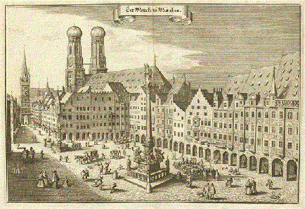 Matthäus Merian, Marienplatz (Mary's Square) in Munich, 1642. Source: Wikicommons.