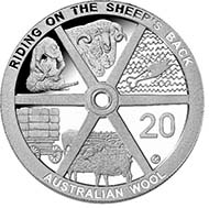 2011 20c Proof Australian Wool coin - Cupro Nickel - 20c (AUD) - 11.3 g - 28.52 mm - Designer: Vladimir Gottwald.