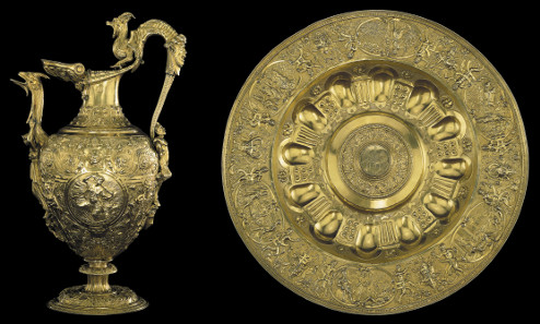 The Aspremont Lynden ewer and basin, silver-gilt, 1545-50. The basin bears at the centre the arms of the Counts of Aspremont Lynden, of Liège and Brussels. The Waddesdon Bequest. © The Trustees of the British Museum.