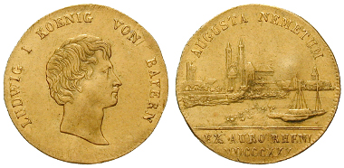 Bayern, Königreich, Ludwig I., Dukat 1830, ss-vz/ss. 2.400 Euro.