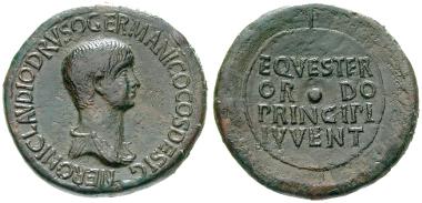 Römische Kaiserzeit, Nero, Caesar, Sesterz 51-54, f.vz. 3.800 Euro.