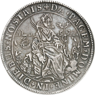 Lot 1086: GERMAN STATES / EAST FRISIA. Ulrich II, 1628-1648. 1 1/2 reichsthaler n. d. (1631), Esens, on his homage. Extremely rare. Very fine to extremely fine. Estimate: 20,000,- euros. Hammer price: 29,000,- euros.