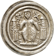 Nr. 1106: GERMAN STATES / QUEDLINBURG. Beatrice II of Winzenburg, 1138-1160. Bracteate. Very rare. Extremely fine. Estimate: 1,000,- euros. Hammer price: 5,000,- euros.