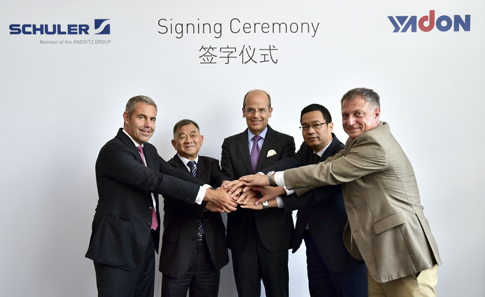 German machine tool maker Schuler acquires majority stake in Chinese press manufacturer Yadon. From left to right: Stefan Klebert, CEO Schuler AG, Yunhu Pan, Chairman of the Board, Yangzhou Metal Forming Machine Tool Co., Ltd. (Yadon), Dr. Wolfgang Leitner, CEO ANDRITZ AG and Chairman of the Supervisory Board Schuler AG, Hongbin Dong, General Manager Yadon, Oemer Akyazici, Managing Director Schuler China. Photo: Schulergroup.