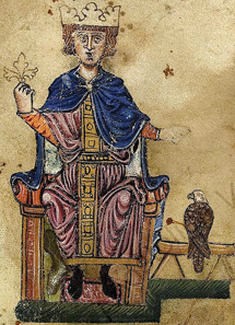 Frederick II with his falcon. From his book