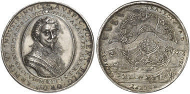 Stadtholder of the Northern Netherlands. Frederick Henry of Orange. Silver medal, 1632. On the capture of Maastricht. Auction sale Künker 247 (2014), 5379.