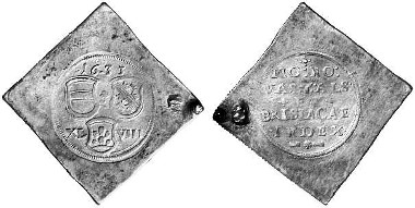 Germany. Breisach. Klippe of 48 kreuzer, struck during the siege, 1633. Auction sale Künker 84 (2003), 3667.