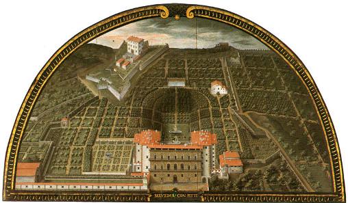 Pitti Palace and Boboli Gardens, lunette by Giusto van Utens (c. 1599), Museo di Firenze com'era, Florence.