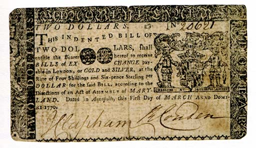 Maryland, 2 dollars, March 1, 1770. Printed by Ann Catherine Green and William Green. Photo: Money on Paper (2010).