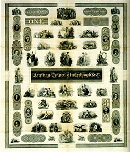 Sample sheet issued by the firm of Fairman, Draper, Underwood & Co., showing Audubon's running grouse vignette at bottom left and right, 1830. Collection of Mark Tomasko. Photo: Money on Paper (2010).