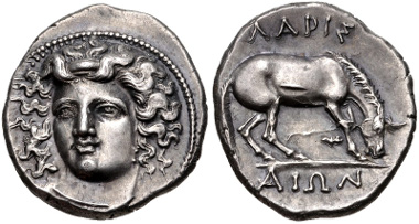 Lot 60: THESSALY, Larissa. Circa 356-342 BC. Drachm. Lorber, Hoard, Phase L-III, 52 (same dies); BCD Thessaly II 316. Good VF. From the BCD Collection. Estimate $200.