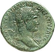 364: HADRIANUS 117-138. Sesterz (119/122). RIC 563b, BMC 1153-1157, C. 1192 var. grasgrüne Patina, ss-vz/ss. Rufpreis: 400 Euro.
