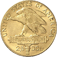 2102: USA. 2 1/2 Dollar 1915 Panama-Pacific Exposition. F.123, KM 161. vz. Rufpreis: 1.500 Euro.