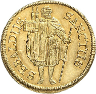 3374: Nürnberg, Stadt. z.Z. Ferdinand III. 1637-1657. Goldgulden 1646. Kellner 33, Slg. Erl. 503. Fr.1718. RR, vz-St. Rufpreis: 12.000 Euro.