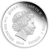 Tuvalu / 1 Tuvaluan Dollar / 2015 / 1 oz / Silver .999 / 31.135 g / 40.60 mm / Designer: Wade Robinson / Mintage: 5000.
