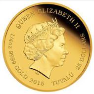 Tuvalu / 25 Tuvaluan Dollars / 2015 / Gold .999 / 7.777 g / 20.60 mm / Designer: Wade Robinson / Mintage: 1000.