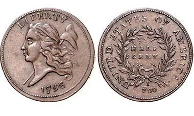 USA. CU Half Cent 1793 Philadelphia Mint, mit Randschrift: TWO HUNDRED FOR A DOLLAR, zwei Zweige. 6,72 g. Gleichmäßige Tönung, selten, III/III+, Ausruf 4.000, Zuschlag 17.000 Euro)