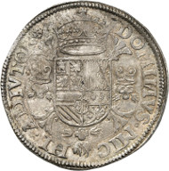 Philip II of Spain (1556-1598), as Lord of Gelderland. Thaler, 1557. Armour-clad bust of Philip to the left. Rev. Crowned coat of arms, Order of the Golden Fleece below, Burgundian andirons to the left and right. © MoneyMuseum, Zurich.