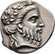 Los 85: Didrachme, Magistrat Leokr(...), ca. 250-200 n. Chr. Nicolet-Pierre 2 (D2/R2), HGC 629 (R1). RR, vzgl. Schätzpreis: 5.000 Euro.