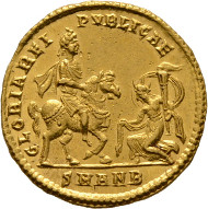 Los 677: Constantius II. Solidus, Antiochia (Antakya), 347-355 n. Chr. RIC 80 (R4), C 107 (80 Fr.), Depeyrot 6/2. Ex Slg. Trau. RRR, vzgl.-stplfr. Schätzpreis: 7.500 Euro.