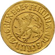 Los 2250: Ferdinand I. 1521-1564, Dukat o.J. Prag. Markl:595, Fr:10. RR, f.stplfr. Schätzpreis: 15.000 Euro.