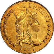 10236: 1797 Capped Bust Right Half Eagle. Small Eagle. BD-1. Rarity-7. 15 Stars, Wide Date. AU-58 (PCGS). Price Realized: $235,000.