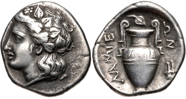 Lot 27: THESSALY, Lamia. Circa 400-350 BC. Hemidrachm. Georgiou, Mint 6; BCD Thessaly II 123. Good VF, lightly toned. From the BCD Collection. Estimate $200.