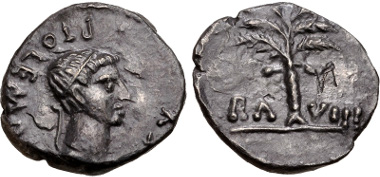 Lot 129: KINGS of MAURETANIA. Ptolemy. AD 24-40. Denarius. Caesarea mint. Dated RY 8 (AD 31/2). MAA 284; Mazard 428; Müller, Afrique 183. VF, find patina, minor roughness. Estimate $500.