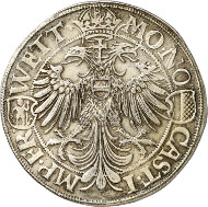 Lot 4115: FRIEDBERG. 1591 double thaler. Unique. Extremely fine. Estimate: 40,000,- euros.