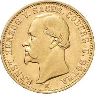 Lot 4415: SAXE-COBURG-GOTHA. Ernest II, 1844-1893. 1677 20 mark E. Extremely rare. Nearly extremely fine / extremely fine. Estimate: 65,000,- euros.