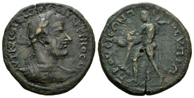Lot 257: Macrinus, 217-218, Bithynia, Prusa ad Hypium, unpublished. Probably unique. Brown-green patina. Light scratches, otherwise Very Fine. Starting bid: £150.