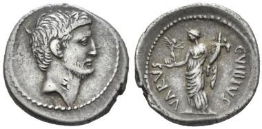Lot 440: Marcus Antonius and C. Vibius Varus. Denarius 42, B. Antonia 26 and Vibia 29. Sear Imperators 149. Crawford 494/32. Rare. Countermark on obverse, otherwise Very Fine / Good Very Fine. Starting bid: £1,000.