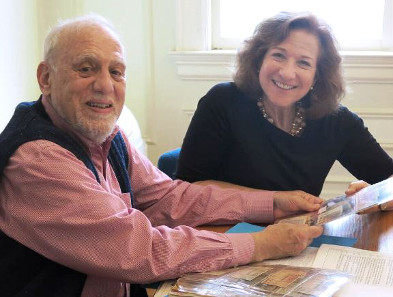 Robert Messing '59 and Debórah Dwork, professor and director of Clark University's Strassler Center for Holocaust and Genocide Studies, meet about the donation.