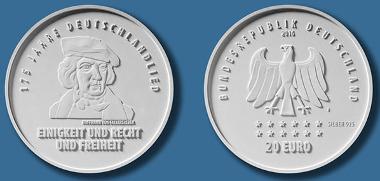 Deutschland / 2016 / 20 Euro / .925 Silber / 18 g / 32,5 mm / Design: Claudius Riedmiller, Stuttgart. © BADV.