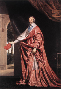 In his portrait from about 1637, Philippe de Champaigne did not depict Richelieu sitting, as a clerical authority, but standing, as a secular prince. Source: Wikicommons.