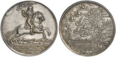Frederick Henry of Orange, Stadtholder of the Netherlands. Silver medal 1631 (by A. van der Wilge). On the naval battle on the Slaak of Volkerak against the Spanish. Auction sale Künker 247 (2014), 5377.