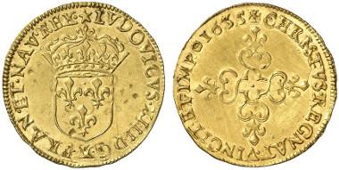 France. Louis XII. Ecu d'or au soleil, 1635 X, Amiens. Auction sale Künker 234 (2013), 3059.