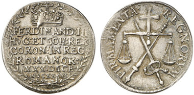 Holy Roman Empire. Ferdinand III. Silver off-metal strike from the dies of the double ducat 1636, on his coronation as Holy Roman Emperor in Regensburg. Auction sale Künker 237 (2013), 3143.