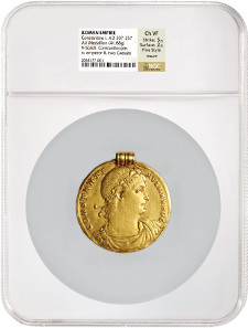 Possibly unique Roman gold medallion of Constantine I.