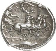 Lot 8117: GREEKS. Sicily. Catane. Tetradrachm, c. 405/402, signed by Herakleidas. Ex Jameson Coll. 547. Very rare. Extremely fine. Estimate: 100,000,- euros.