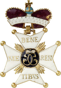 Lot 189: Duchy of Wuerttemberg: Military Order of St. Charles of Wuerttemberg, Grand Cross Badge (Commander). Issue from 1759, gold and enamel. Extremely rare. II-II. Estimate: 20,000,- euros.