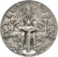 Nr. 1432: ALTDEUTSCHLAND. Sachsen. Silbergussmedaille, Dreifaltigkeitsmedaille oder Moritzpfennig, 1544 (wohl um 1600 angefertigt) von Hans Reinhardt dem Älteren. Vorzüglich. Taxe: 5.000,- Euro.