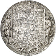 Lot 1432: GERMANY. Saxony. Cast silver medal, trinity medal or moritzpfennig, 1544 (probably made around 1600) by Hans Reinhardt the Elder. Extremely fine. Estimate: 5,000,- euros.